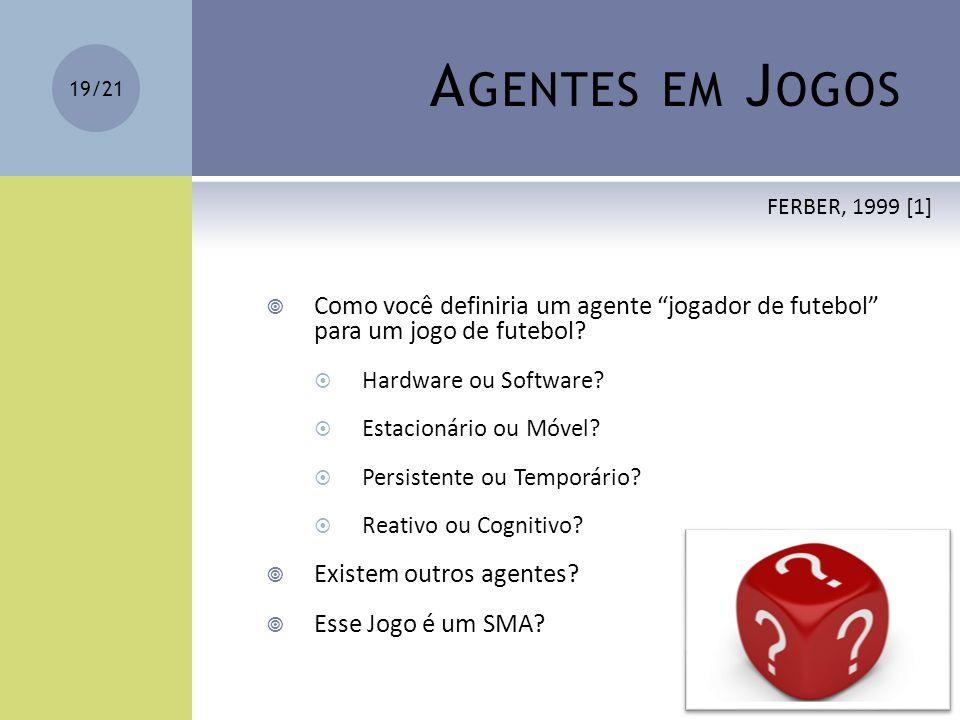 Agentes em Jogos FERBER, 1999 [1] Como você definiria um agente jogador de futebol para um jogo de futebol